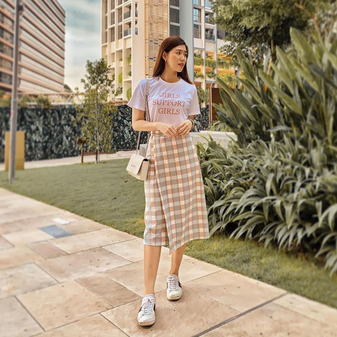 AS SEEN ON @lianmeiting - Kario Plaids Midi Skirt