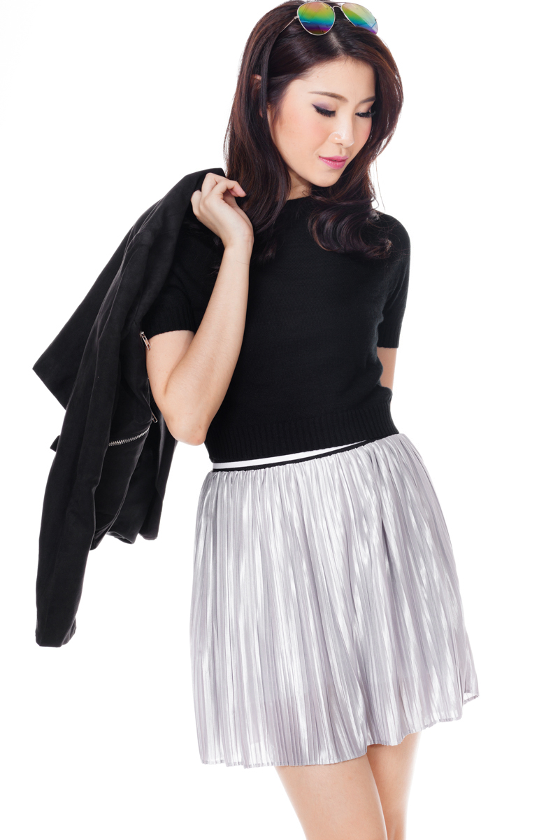 86def19ffa ... TCL Sporty Pleats Skirt in Silver. Hover your mouse to view bigger  image Double tap to zoom