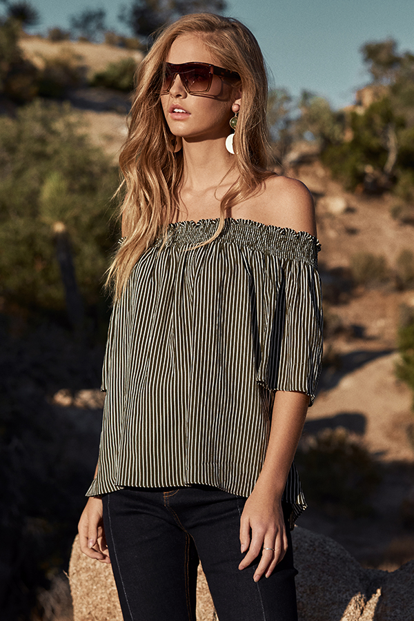 a9d9d0a4d25ba ... Kaiden Stripes Off-Shoulder Top in Olive. Hover your mouse to view  bigger image Double tap to zoom