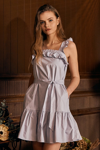 Aria Ruffled Dress in Ash Lavender