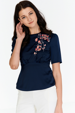 Sakura Floral Embroidered Top in Navy