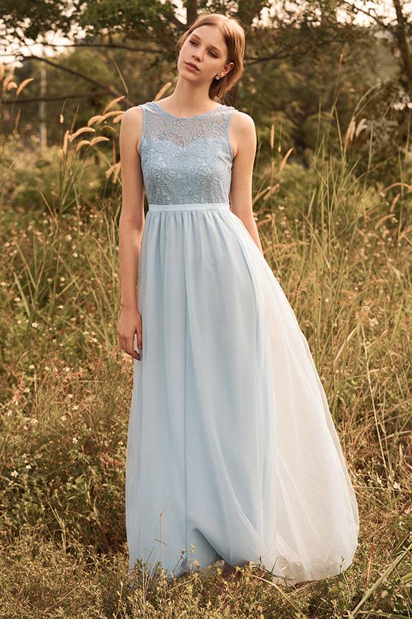 Kenna Tulle Maxi Dress in Powder Blue