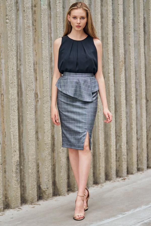 *W. By TCL* Dayana Checkered Peplum Skirt