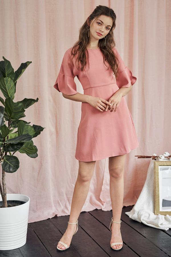 Denize Flutter Sleeve Dress in Pink