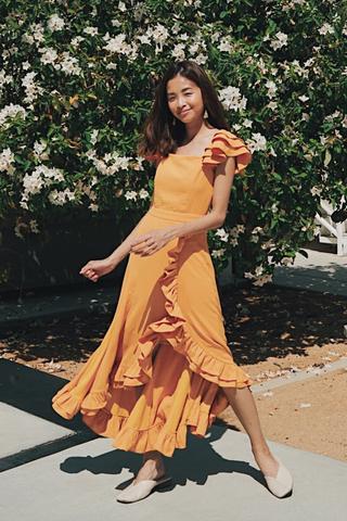 *Restock* Maisha Ruffles Midi Dress in Dandelion