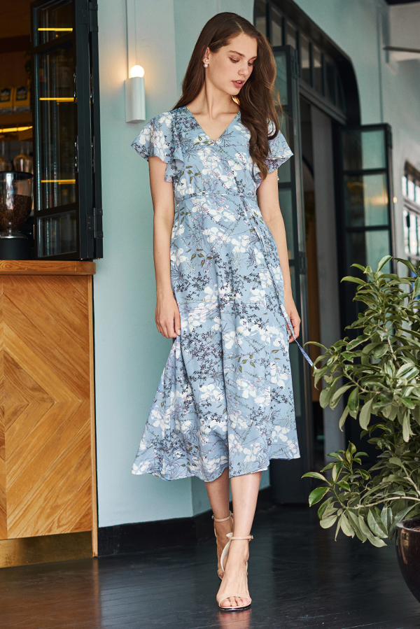5f232e85476a ... Ariel Floral Printed Midi Dress in Dusty Blue. Hover your mouse to view  bigger image Double tap to zoom