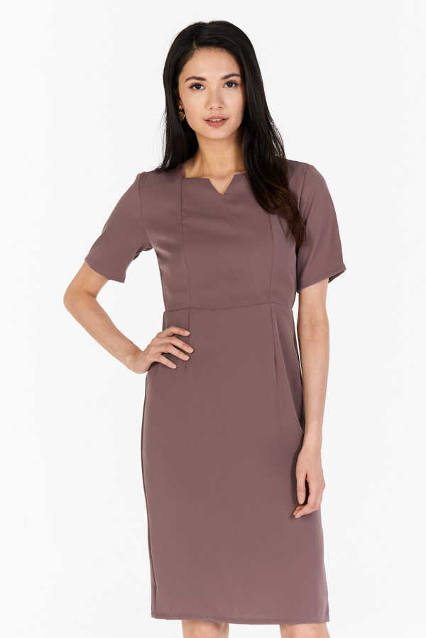 6d417dd44652 W. By TCL* Kareen Sleeved Dress in Dusky Orchid | The Closet Lover