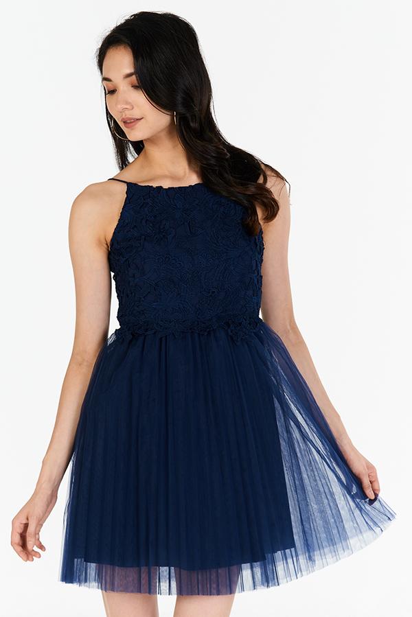 Carida Tulle Dress in Navy