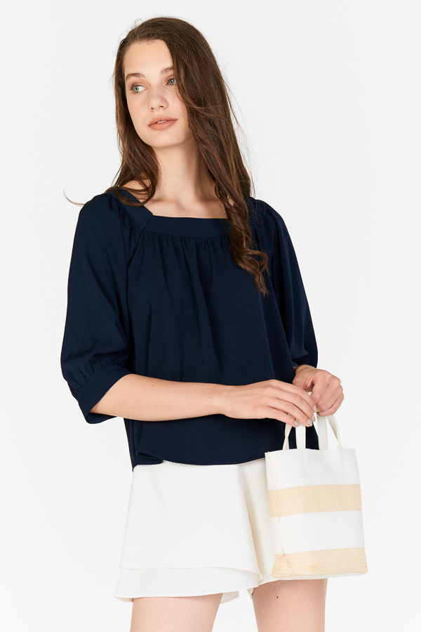 9604cb48ff711 ... Carila Square Neck Top in Navy. Hover your mouse to view bigger image  Double tap to zoom