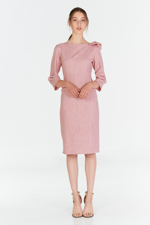 *W. By TCL* Camillea Ribbon Sleeved Dress in Pink