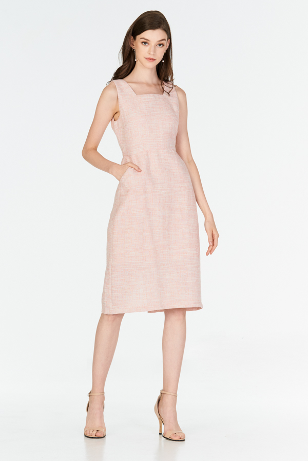 *W. By TCL* Hollie Square Neck Tweed Dress in Pink