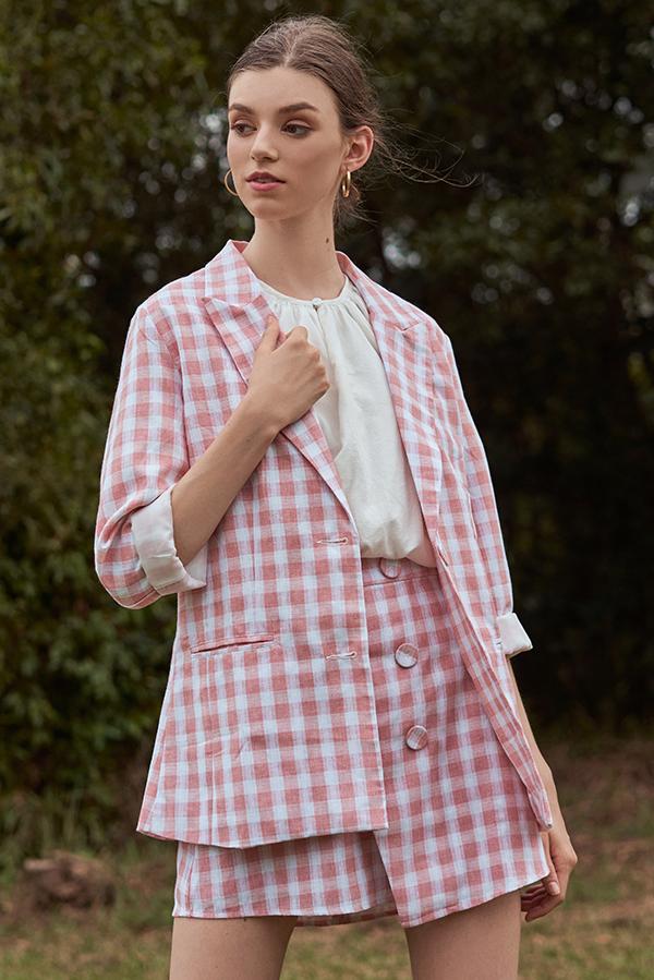 Portia Checkered Blazer in Pink