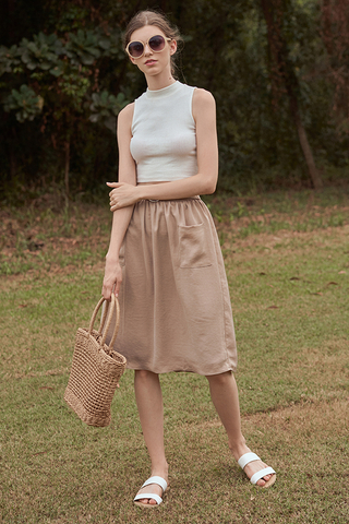 Terise Belted Midi Skirt in Khaki