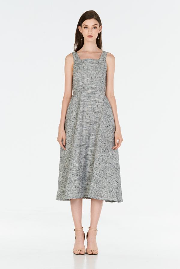 *W. By TCL* Kenzi Tweed Midi Dress in Black