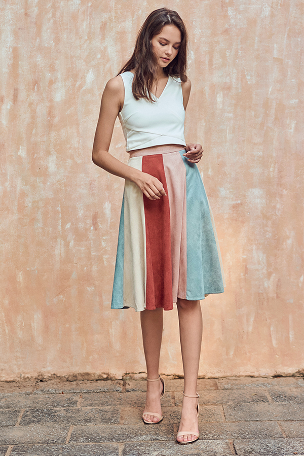 fbe1044b1a25 ... Suede Midi Skirt in Pink. Hover your mouse to view bigger image Double  tap to zoom