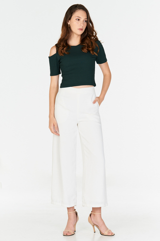 Janna Cold Shoulder Ribbed Tee in Forest