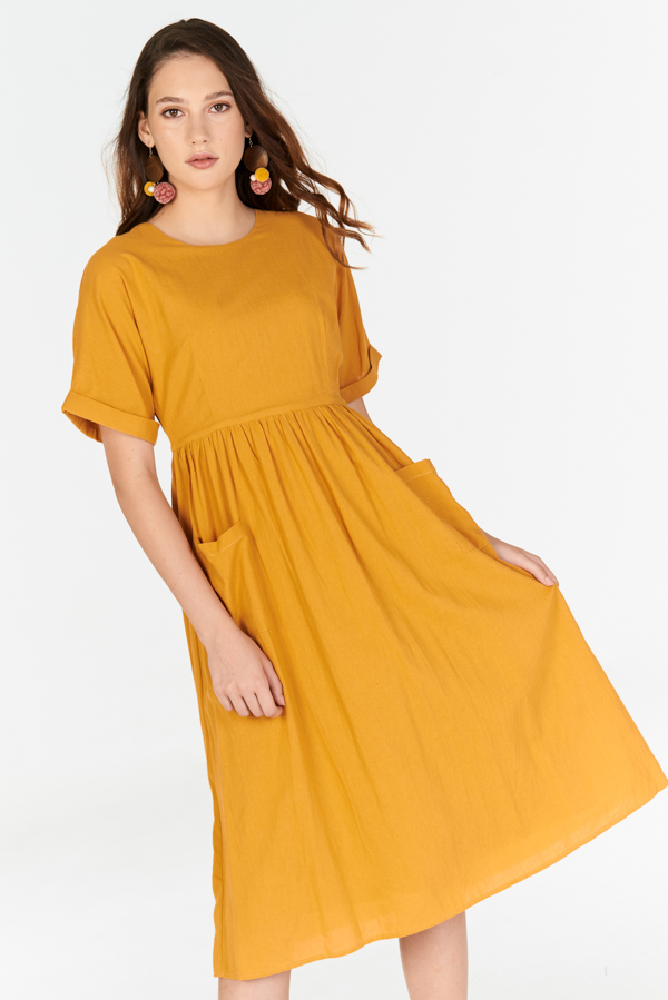 a52c6e6181 ... Elias Linen Midi Dress in Mustard. Hover your mouse to view bigger  image Double tap to zoom