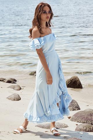 *Restock* Maisha Ruffles Midi Dress in Blue