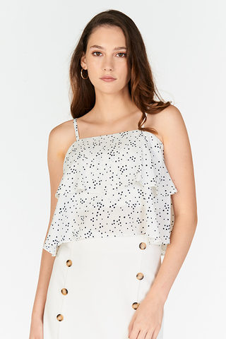 Adalle Ruffled Dotted Top in White