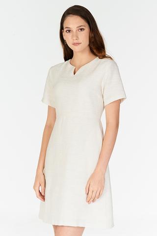 *W. By TCL* Sherrin Tweed Dress in Cream