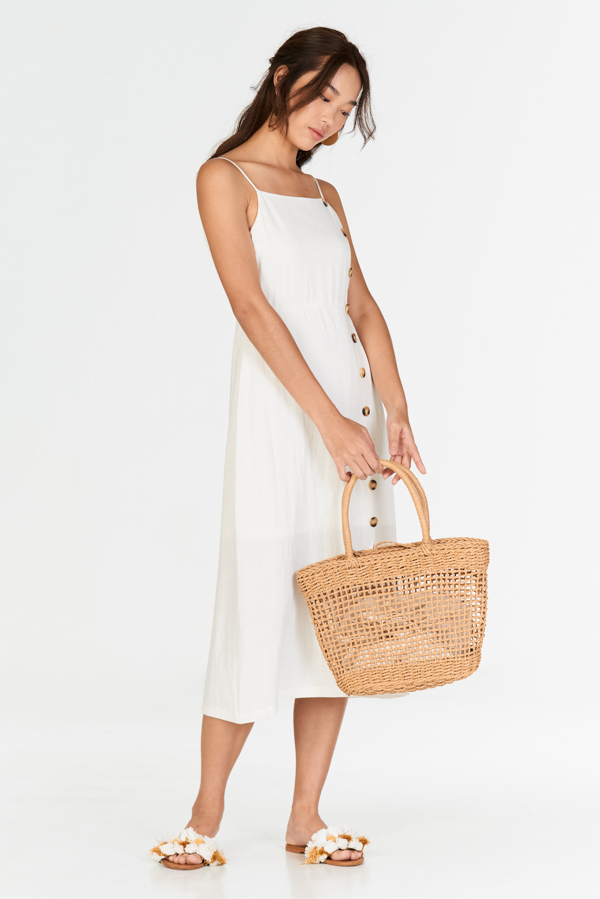 43c622f1a52 ... Erina Linen Midi Dress in White. Hover your mouse to view bigger image  Double tap to zoom