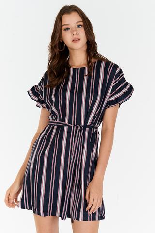 Sherina Stripes Ruffled Sleeves Dress in Dark Navy