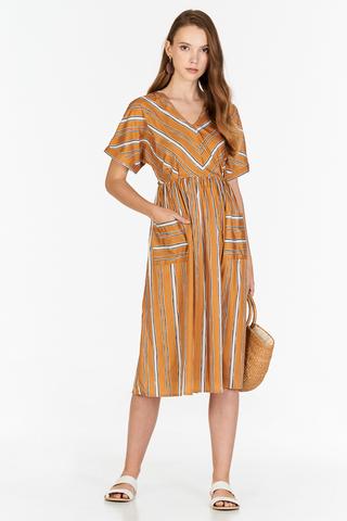 Sherina Stripes Midi Dress in Mustard