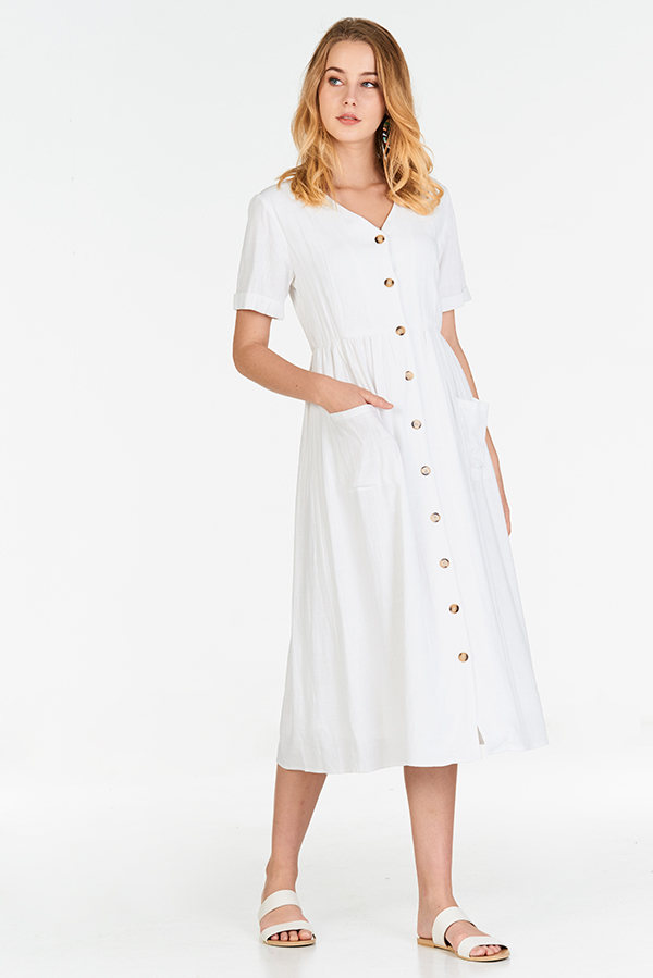 2003f6c442 ... Landa Linen Midi Dress in White. Hover your mouse to view bigger image  Double tap to zoom