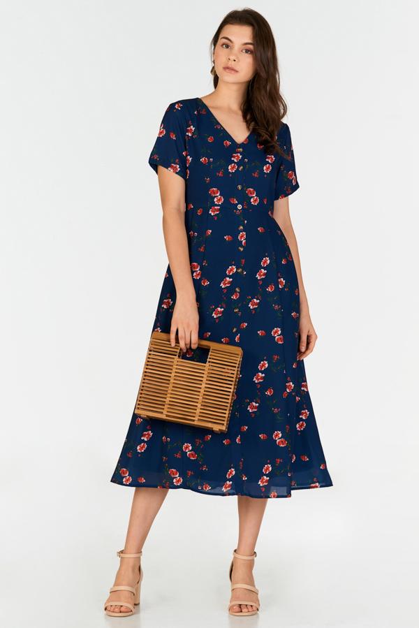 c97b6bb94bb4 Vivienne Floral Printed Midi Dress in Navy | The Closet Lover