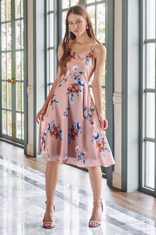 Louella Floral Printed Midi Dress in Pink