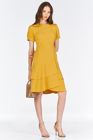 Docia Ruffled Midi Dress in Marigold