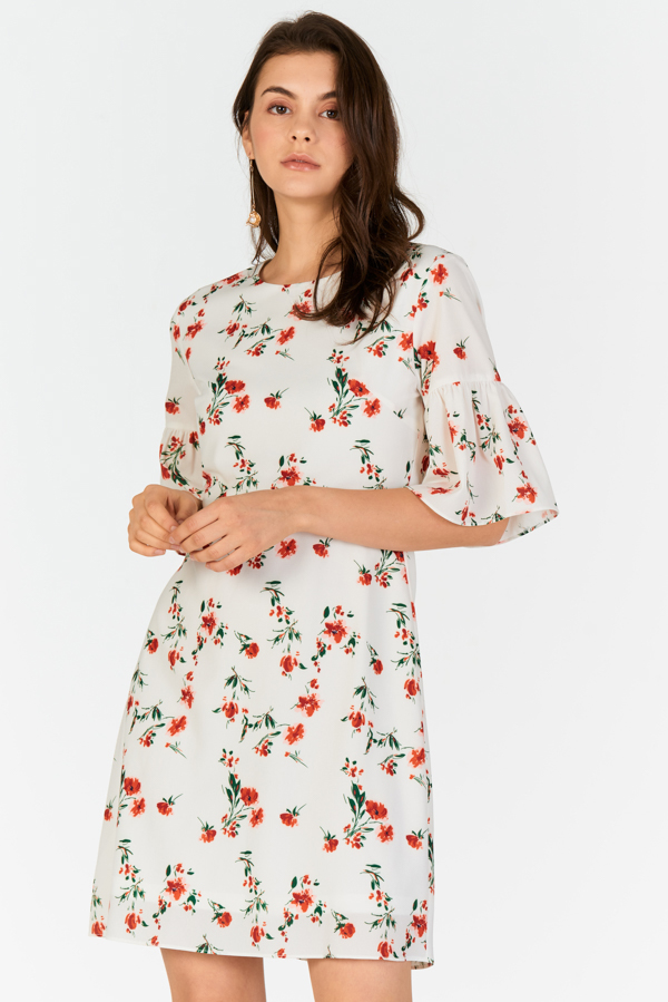d7d0ba088 ... Vivienne Floral Printed Dress in White. Hover your mouse to view bigger  image Double tap to zoom