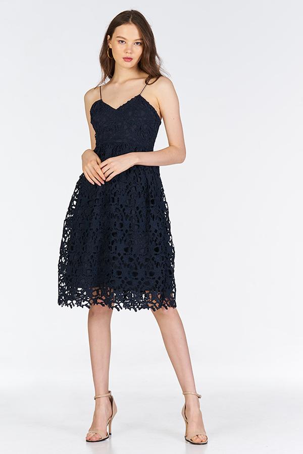 Crochet Enchantment Dress in Navy