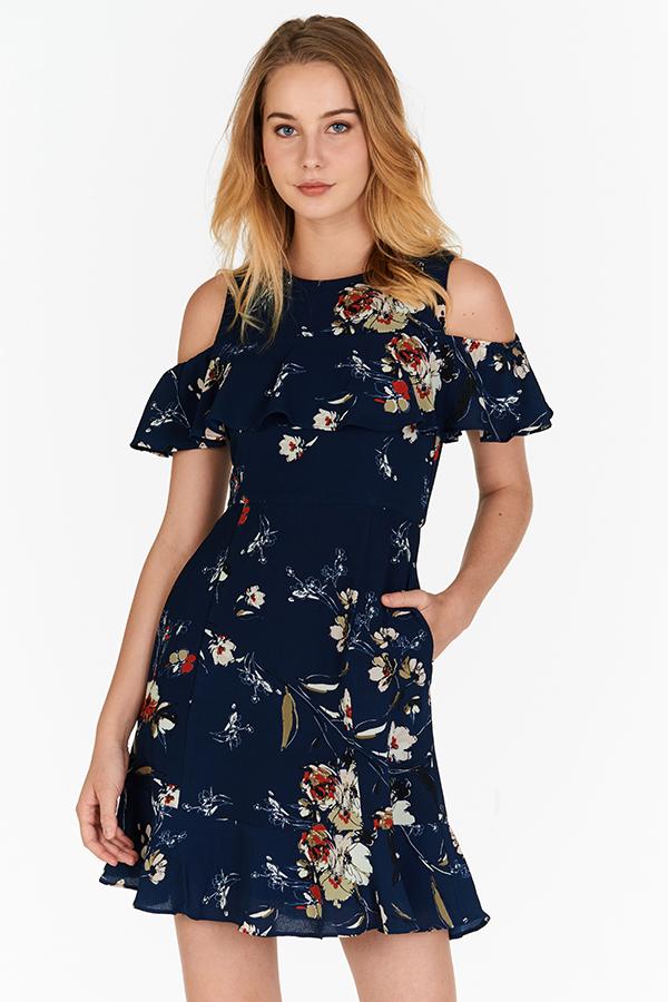 Anista Floral Printed Cold Shoulder Dress