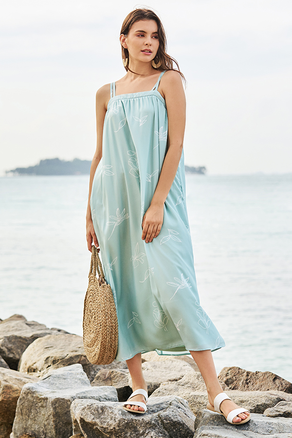 Leane Printed Maxi Dress in Spring Mint