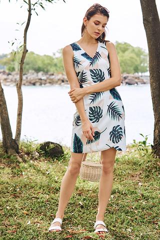 Kerena Tropical Printed Dress in White
