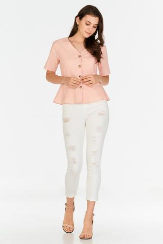 Joninta Linen Top in Pink