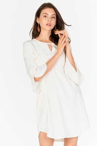 Dena Ruffled Sleeved Dress in White