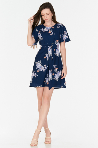 Chandler Floral Printed Belted Dress in Navy
