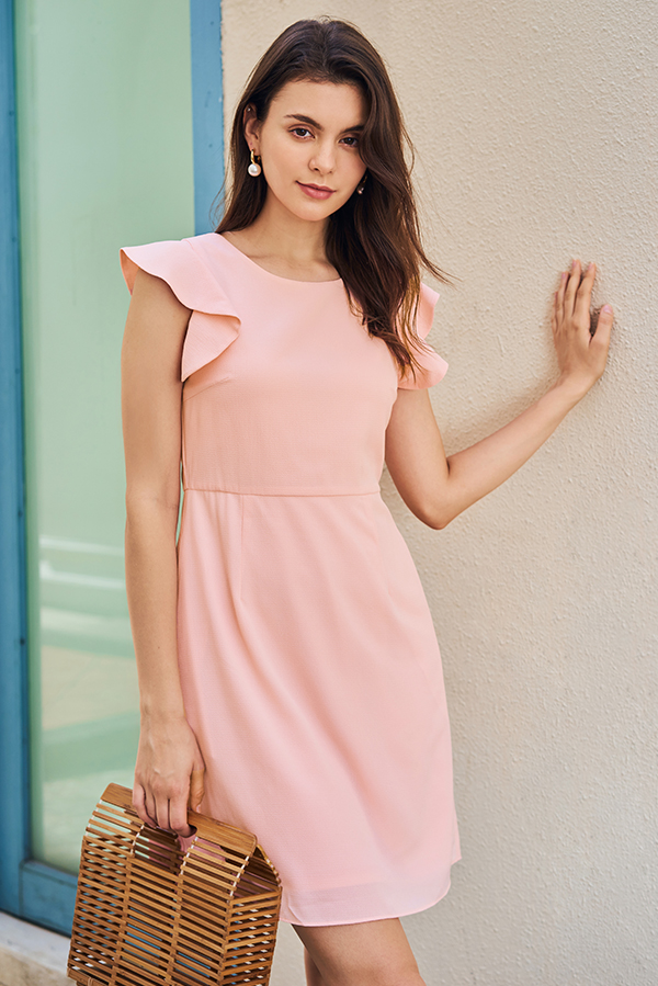 Solina Ruffled Sleeved Dress in Pink
