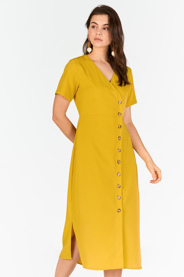 Renasa Buttoned Midi Dress in Marigold