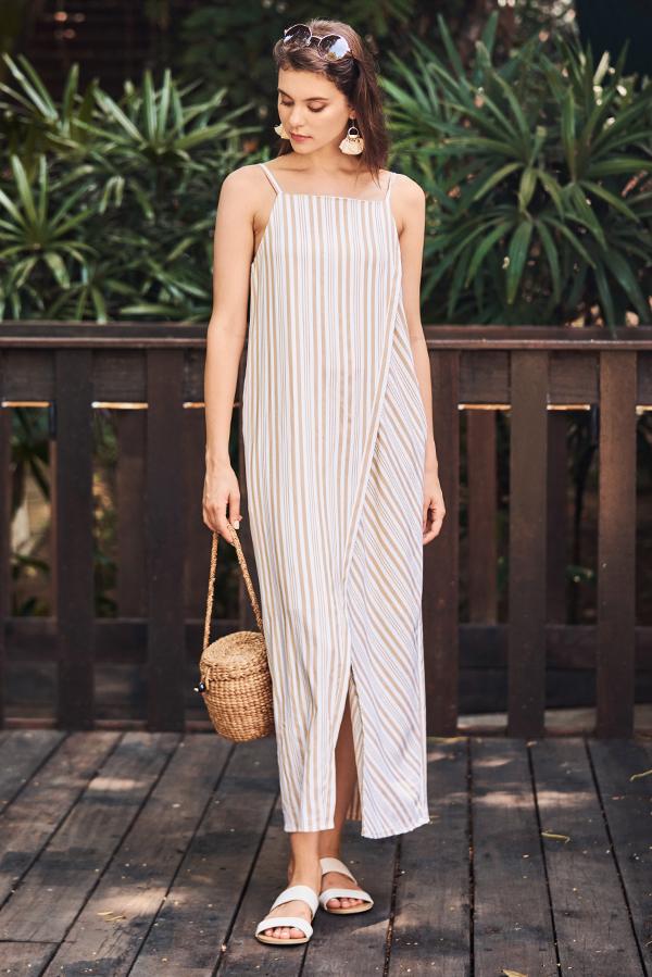 Helon Stripes Maxi Dress