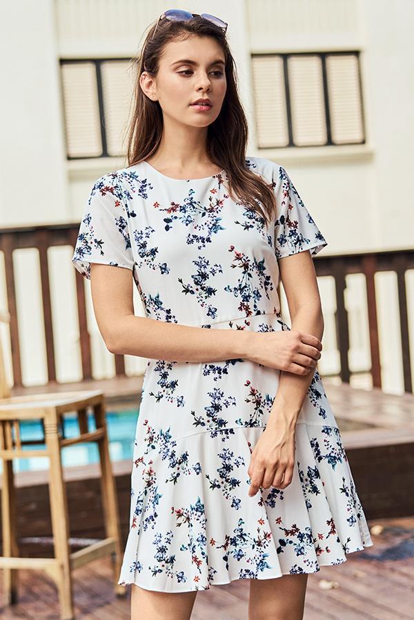 Jerrina Floral Printed Sleeved Dress