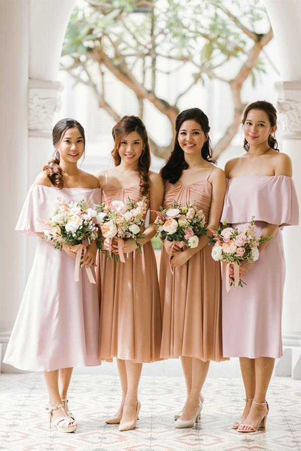 Cala Off-Shoulder Midi Dress in Pink