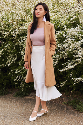 Cassel Asymmetrical Midi Skirt in White