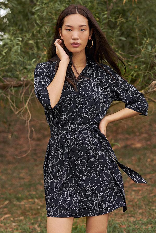 Chandily Abstract Printed Shirt Dress