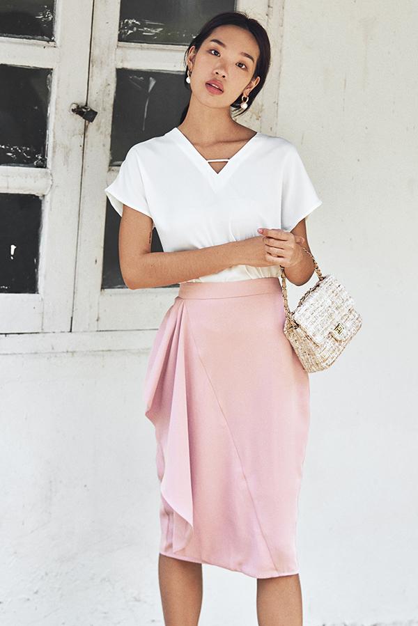 Florinna Ruffled Skirt in Pink