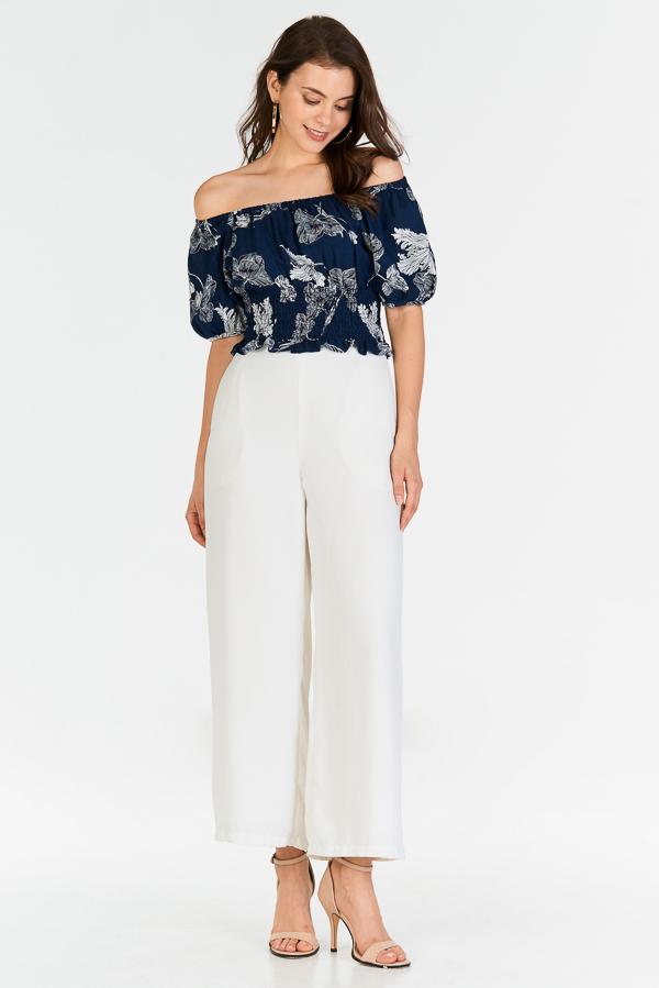 Alynda Floral Printed Off-Shoulder Top in Navy
