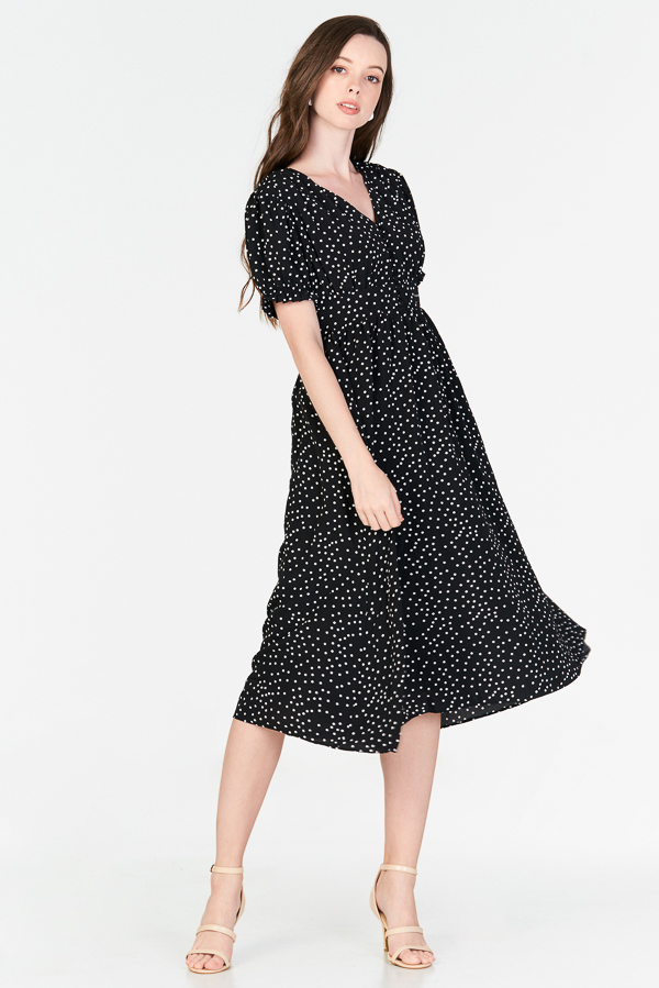 2acde672bf ... Monroe Dotted Midi Dress in Black. Hover your mouse to view bigger  image Double tap to zoom