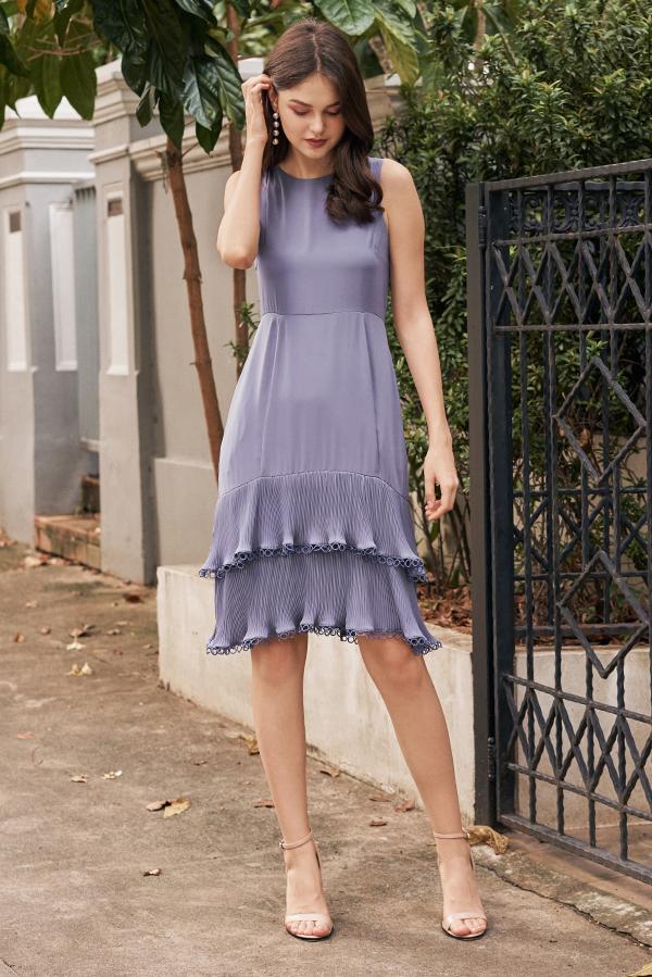 Rindora Ruffled Dress in Periwinkle
